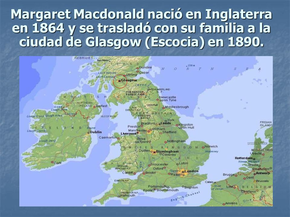 Margaret Macdonald nació en Inglaterra en 1864 y se trasladó con su familia a la ciudad de Glasgow (Escocia) en 1890.