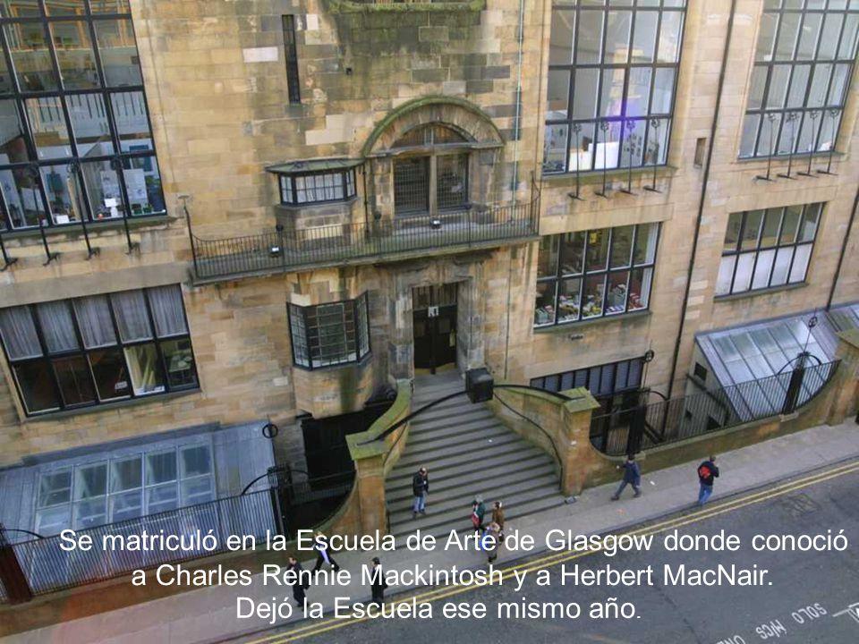 Se matriculó en la Escuela de Arte de Glasgow donde conoció a Charles Rennie Mackintosh y a Herbert MacNair.