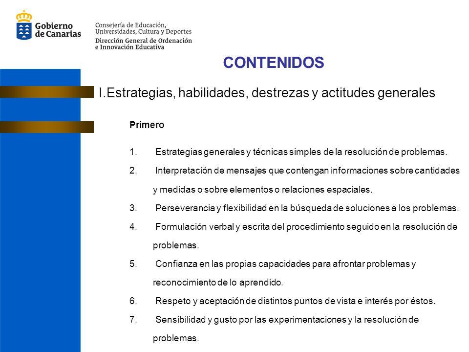 CONTENIDOS I.Estrategias, habilidades, destrezas y actitudes generales
