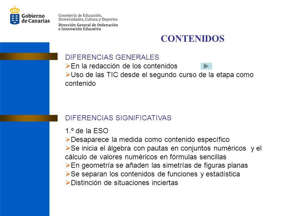 CONTENIDOS DIFERENCIAS GENERALES En la redacción de los contenidos