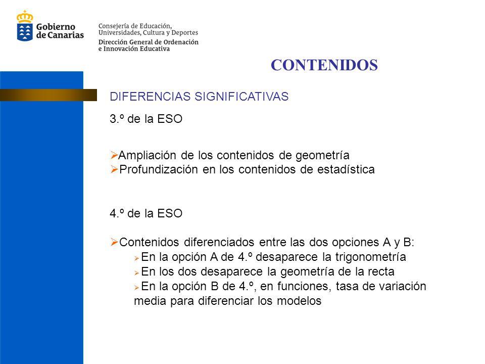 CONTENIDOS DIFERENCIAS SIGNIFICATIVAS 3.º de la ESO