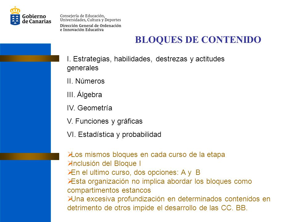 BLOQUES DE CONTENIDO I. Estrategias, habilidades, destrezas y actitudes generales. II. Números. III. Álgebra.