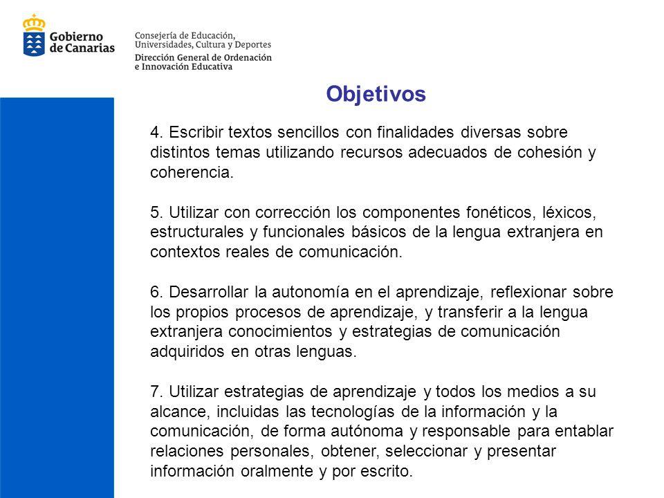 Objetivos 4. Escribir textos sencillos con finalidades diversas sobre distintos temas utilizando recursos adecuados de cohesión y coherencia.