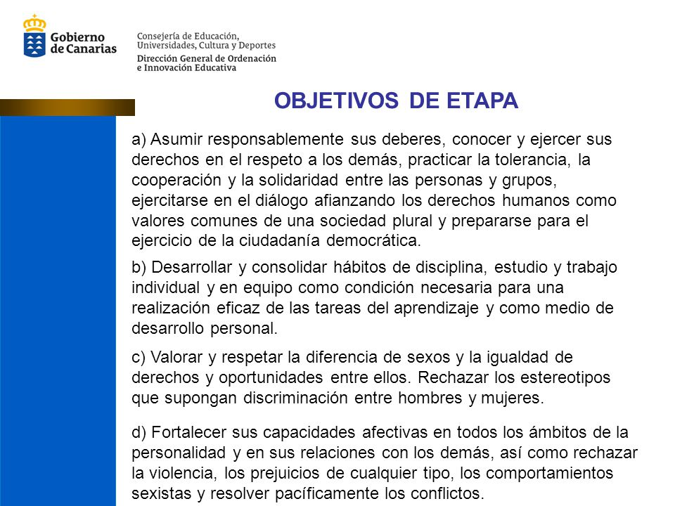 OBJETIVOS DE ETAPA