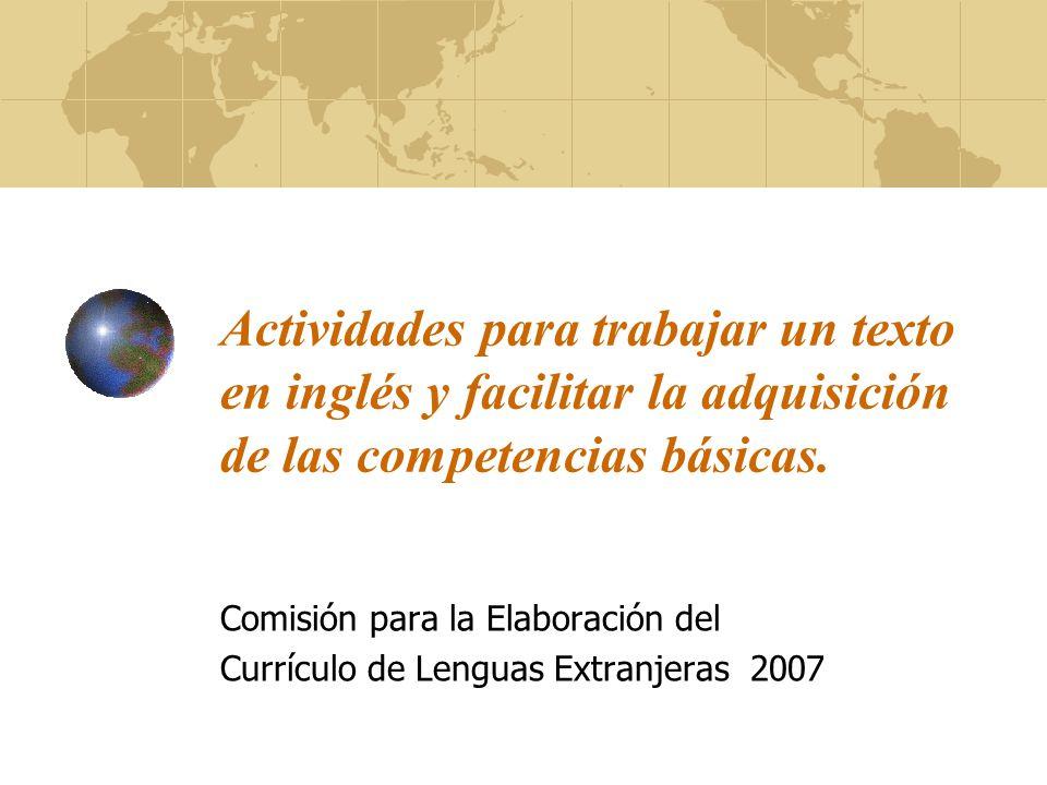 Comisión para la Elaboración del Currículo de Lenguas Extranjeras 2007