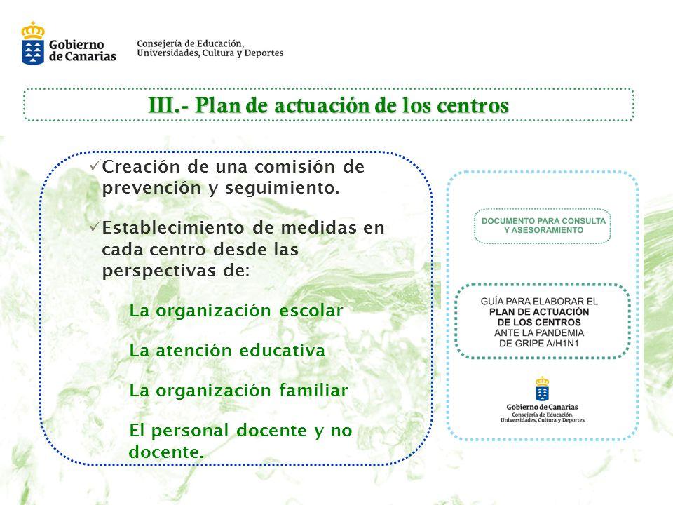 III.- Plan de actuación de los centros