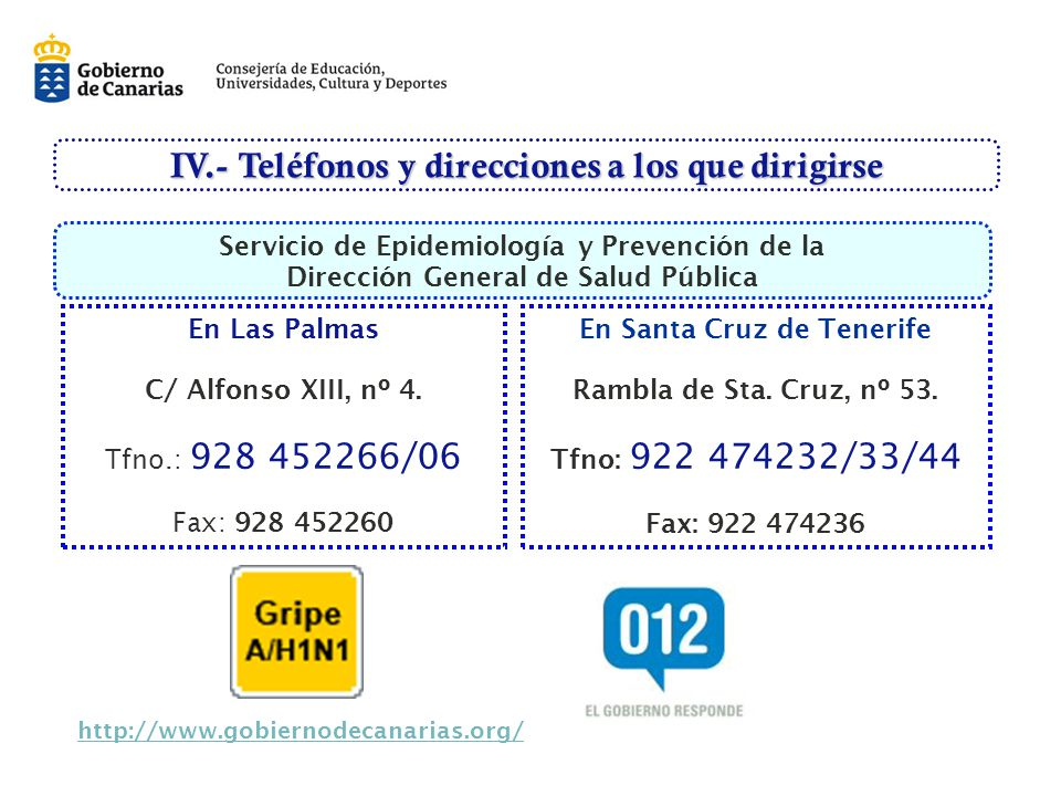 IV.- Teléfonos y direcciones a los que dirigirse