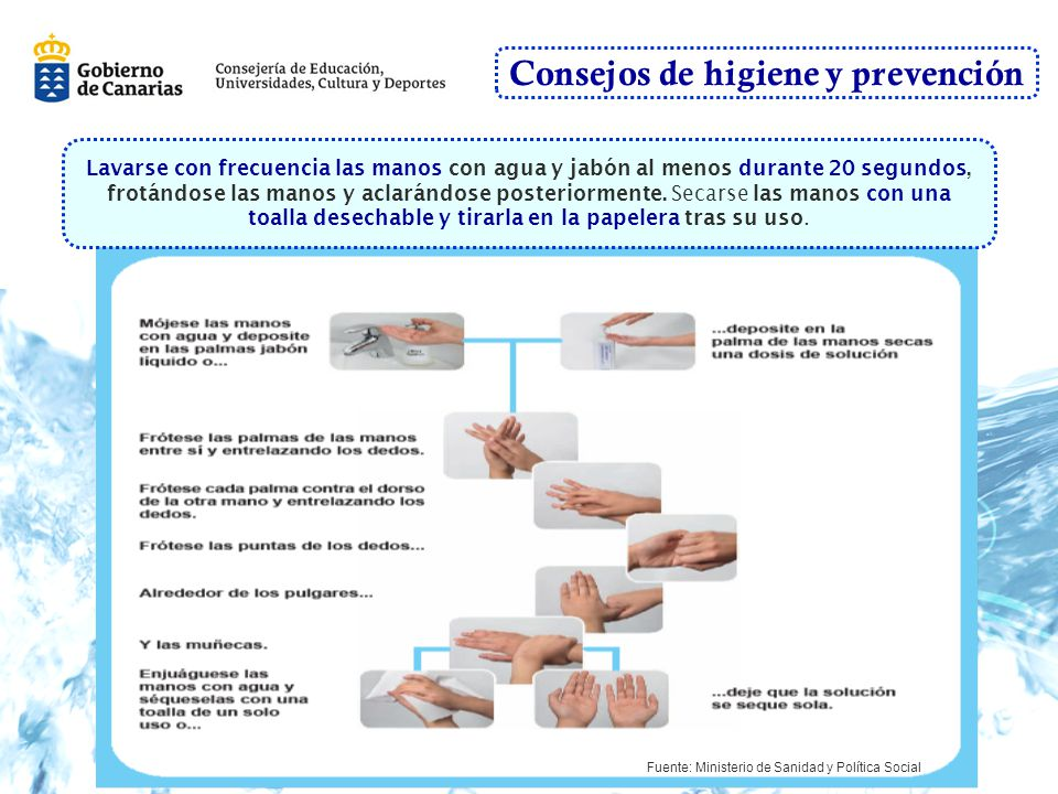 Consejos de higiene y prevención