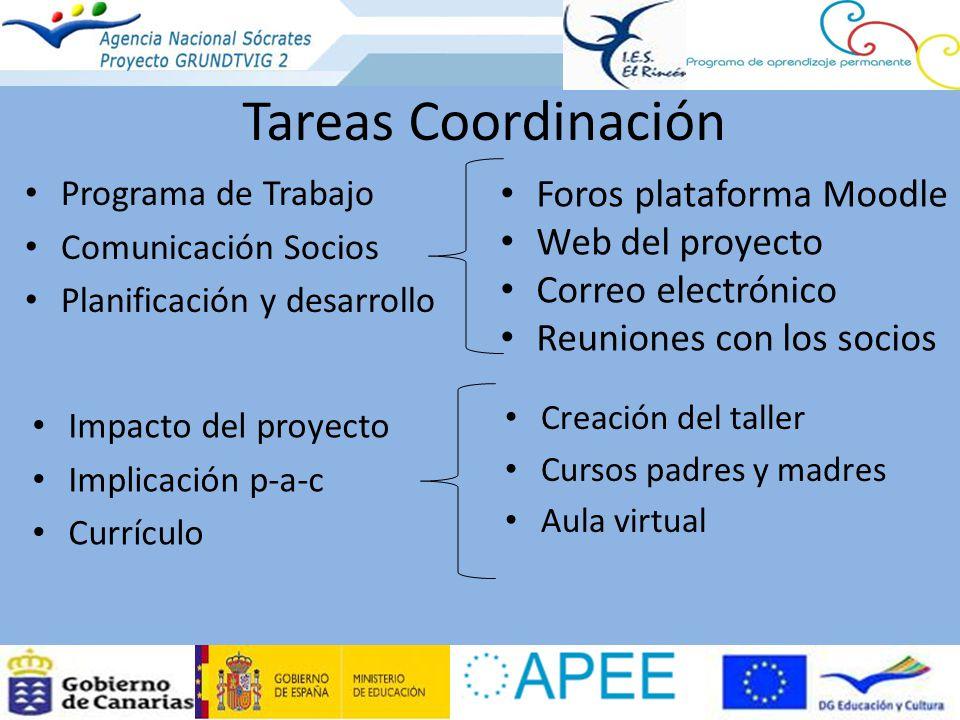 Tareas Coordinación Foros plataforma Moodle Web del proyecto