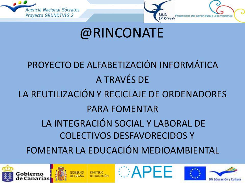 @RINCONATE PROYECTO DE ALFABETIZACIÓN INFORMÁTICA A TRAVÉS DE