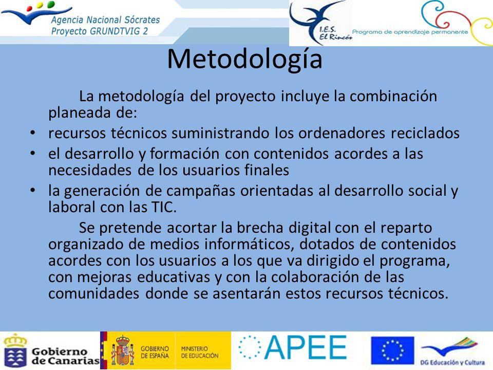 Metodología La metodología del proyecto incluye la combinación planeada de: recursos técnicos suministrando los ordenadores reciclados.