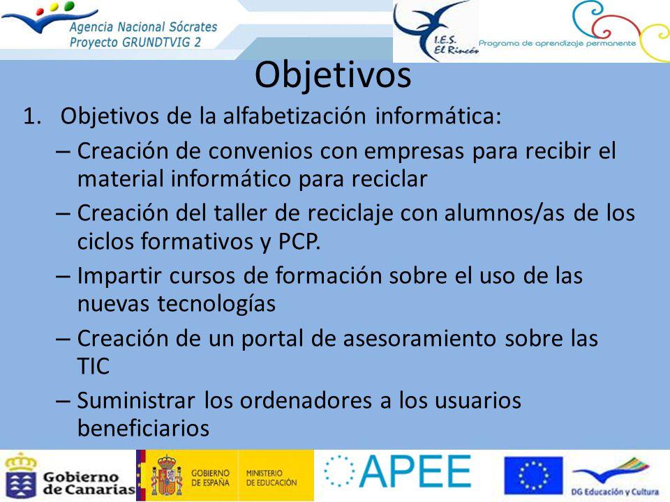 Objetivos Objetivos de la alfabetización informática: