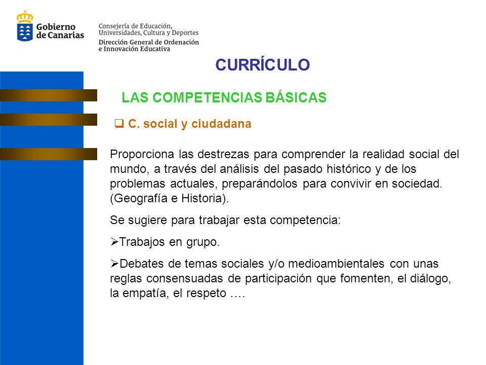 CURRÍCULO LAS COMPETENCIAS BÁSICAS C. social y ciudadana