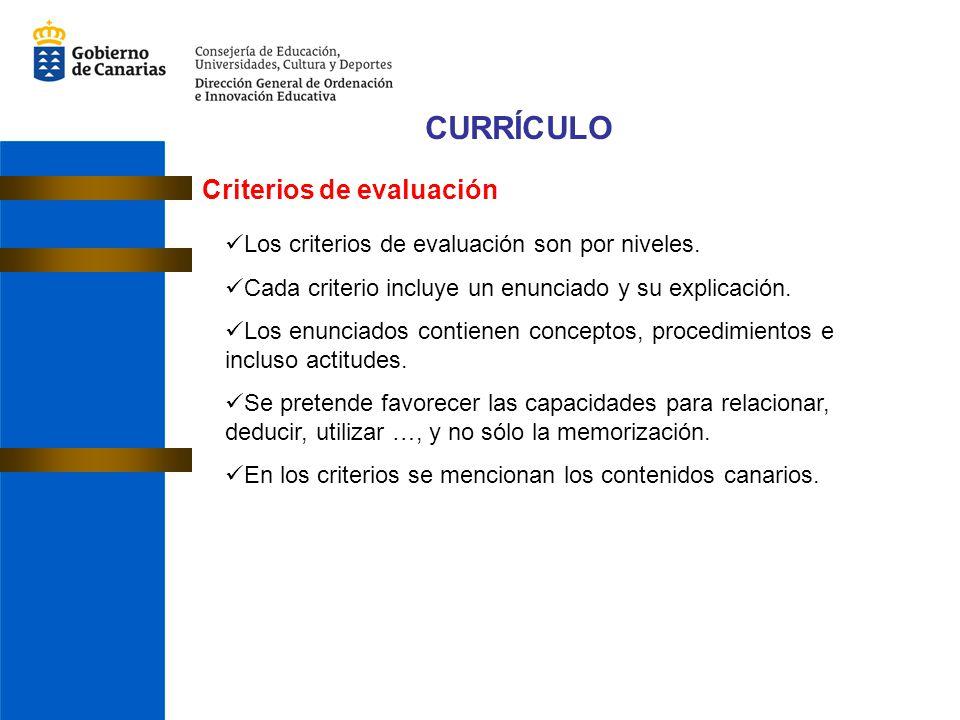 CURRÍCULO Criterios de evaluación
