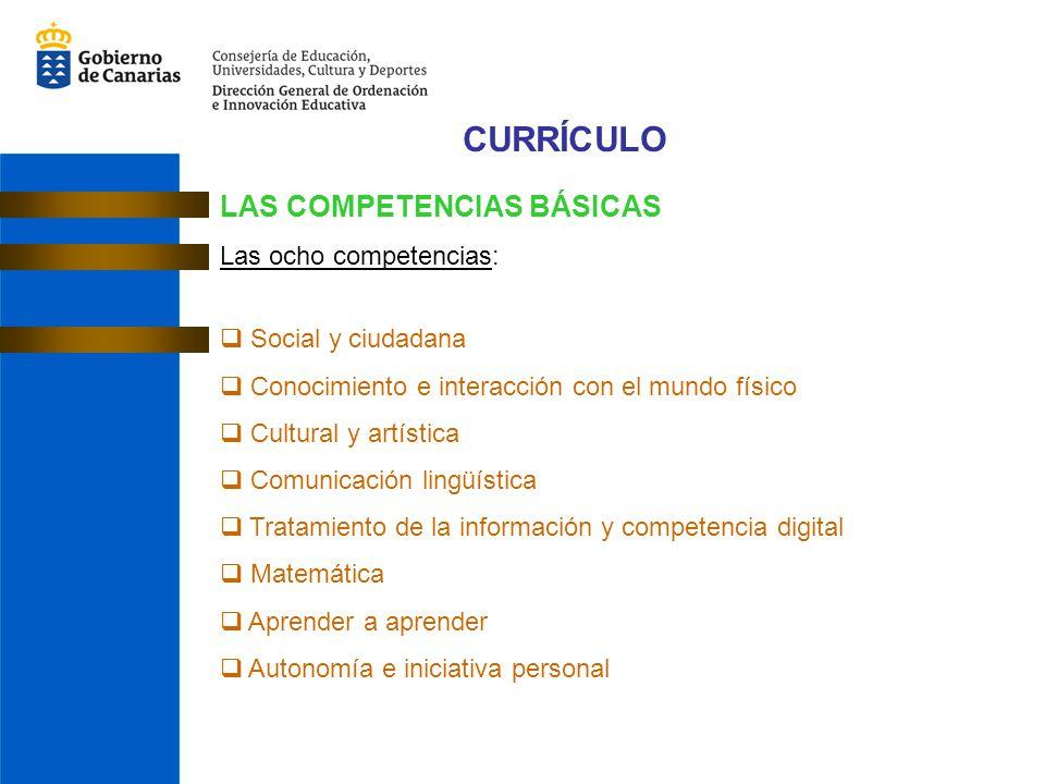 CURRÍCULO LAS COMPETENCIAS BÁSICAS Las ocho competencias: