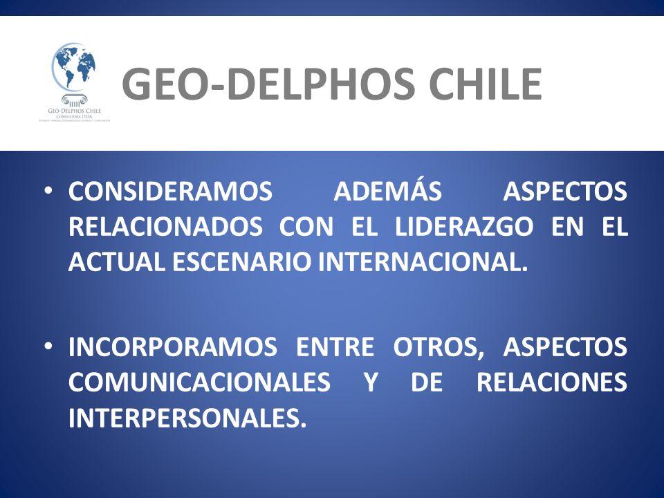 GEO-DELPHOS CHILE CONSIDERAMOS ADEMÁS ASPECTOS RELACIONADOS CON EL LIDERAZGO EN EL ACTUAL ESCENARIO INTERNACIONAL.