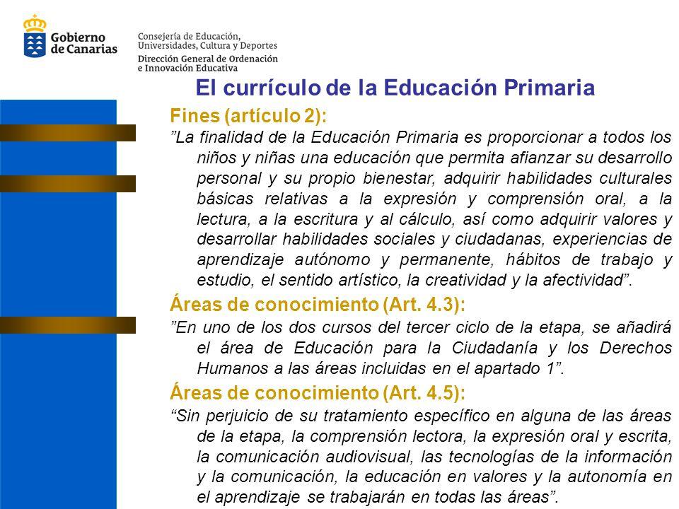 El currículo de la Educación Primaria