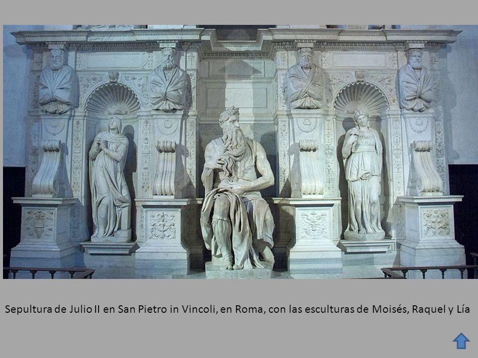 Sepultura de Julio II en San Pietro in Vincoli, en Roma, con las esculturas de Moisés, Raquel y Lía