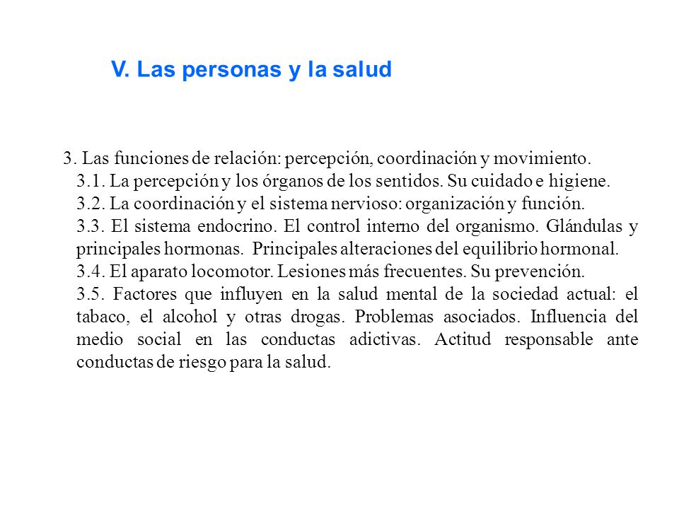 V. Las personas y la salud