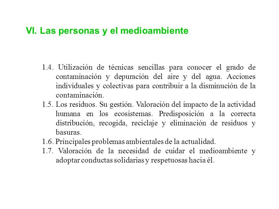 VI. Las personas y el medioambiente
