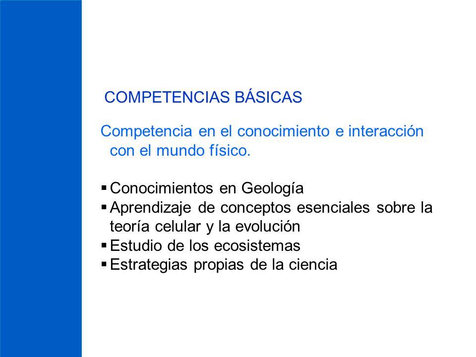 COMPETENCIAS BÁSICAS Competencia en el conocimiento e interacción con el mundo físico. Conocimientos en Geología.