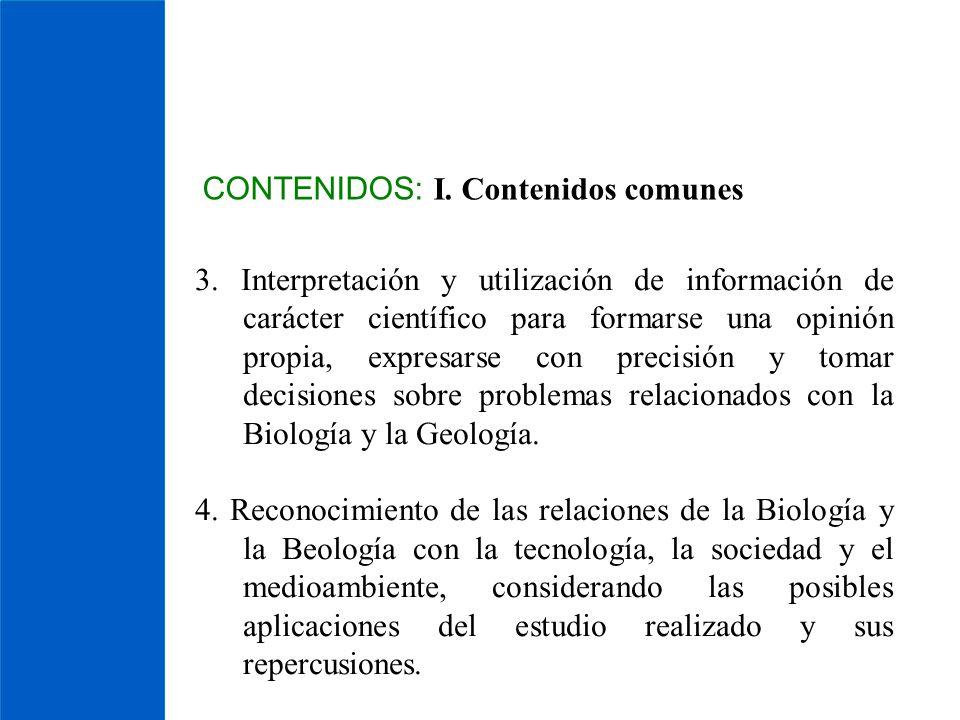 CONTENIDOS: I. Contenidos comunes