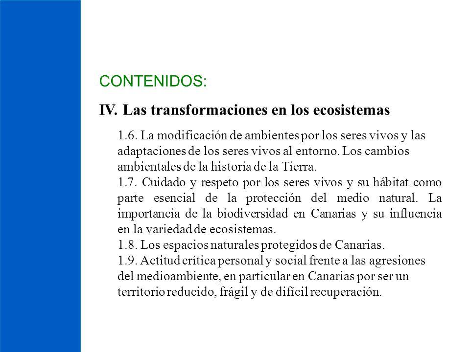 IV. Las transformaciones en los ecosistemas