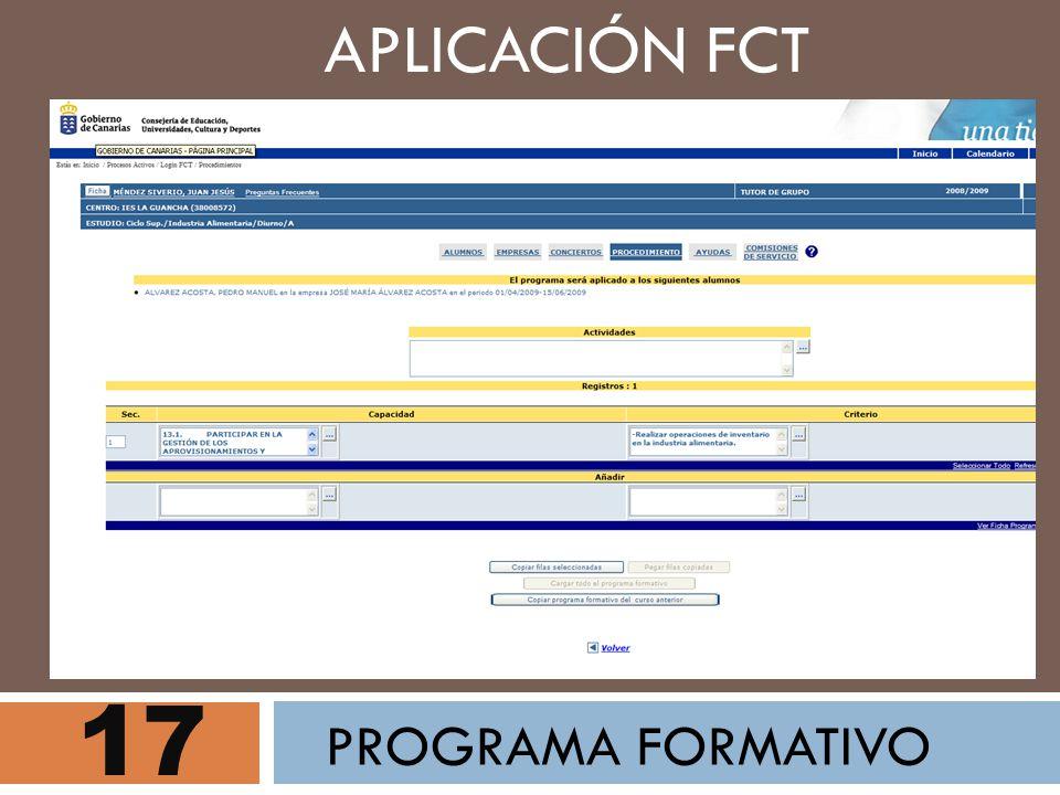 APLICACIÓN FCT 17 PROGRAMA FORMATIVO