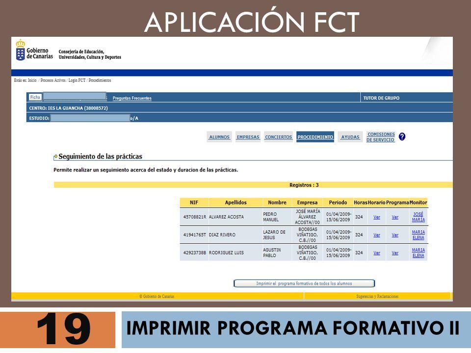 APLICACIÓN FCT 19 IMPRIMIR PROGRAMA FORMATIVO II
