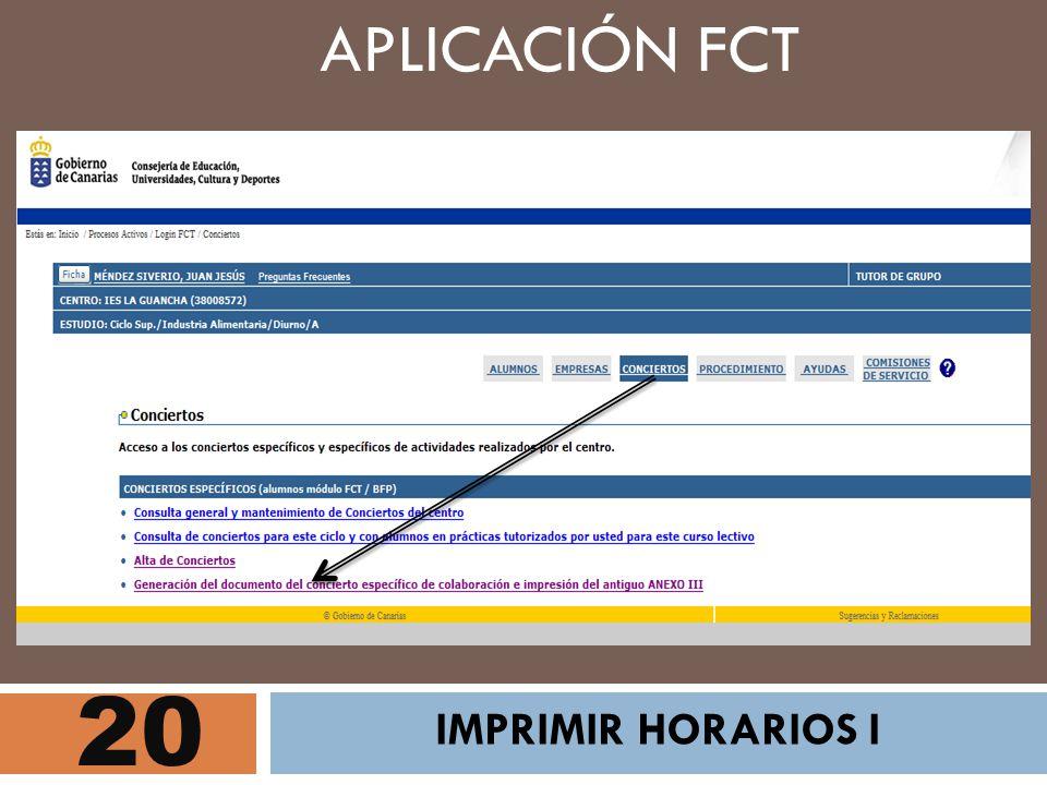 APLICACIÓN FCT 20 IMPRIMIR HORARIOS I