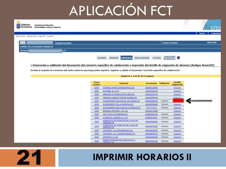 APLICACIÓN FCT 21 IMPRIMIR HORARIOS II