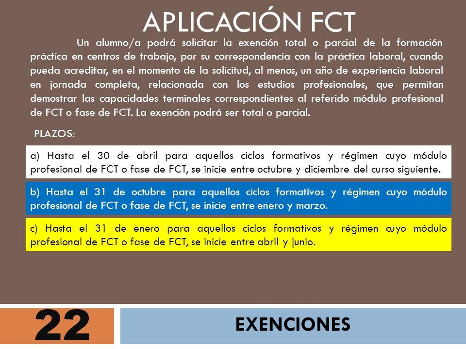 22 APLICACIÓN FCT EXENCIONES