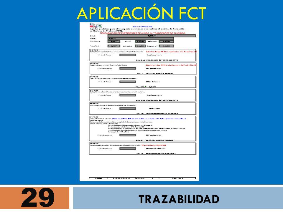 APLICACIÓN FCT 29 TRAZABILIDAD