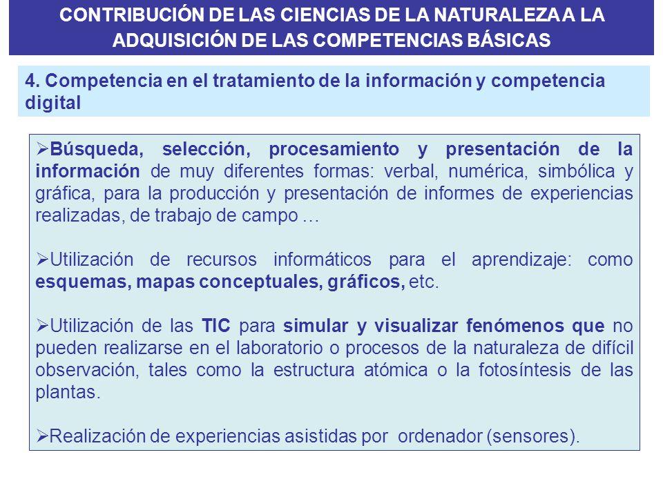 CONTRIBUCIÓN DE LAS CIENCIAS DE LA NATURALEZA A LA ADQUISICIÓN DE LAS COMPETENCIAS BÁSICAS