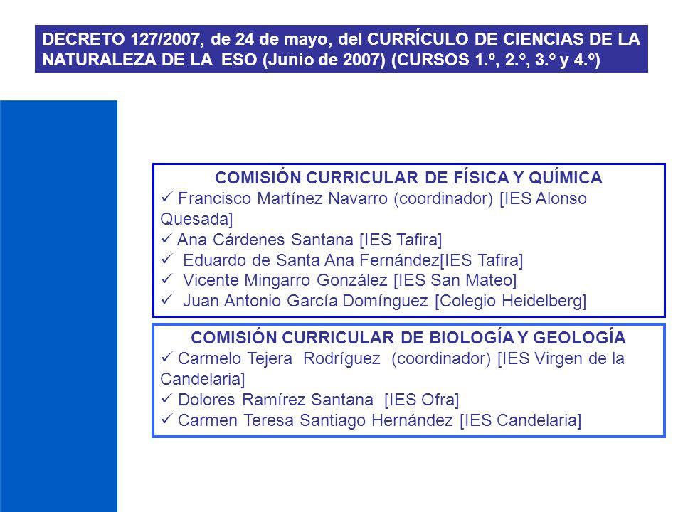 COMISIÓN CURRICULAR DE FÍSICA Y QUÍMICA