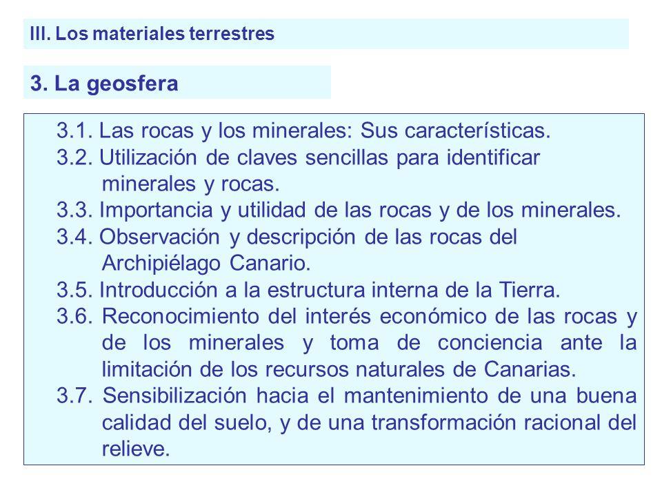 3.1. Las rocas y los minerales: Sus características.