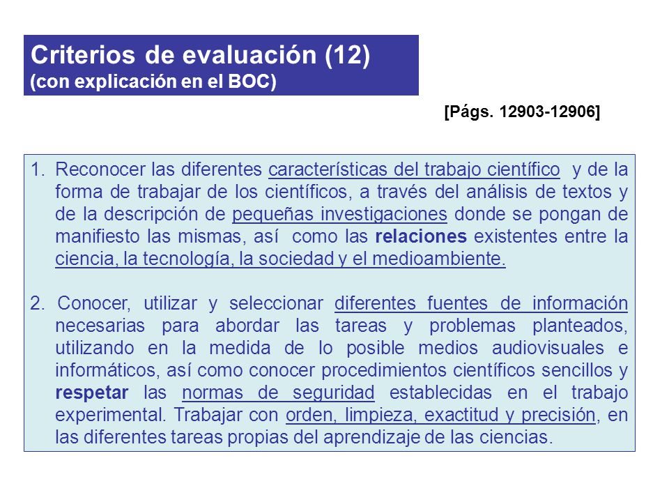 Criterios de evaluación (12) (con explicación en el BOC)