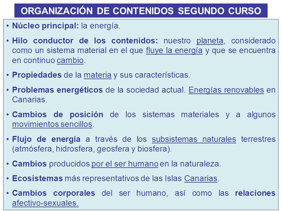ORGANIZACIÓN DE CONTENIDOS SEGUNDO CURSO