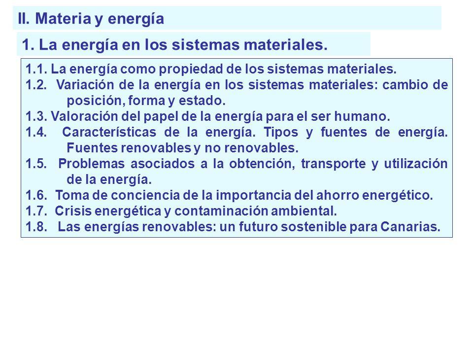 1. La energía en los sistemas materiales.