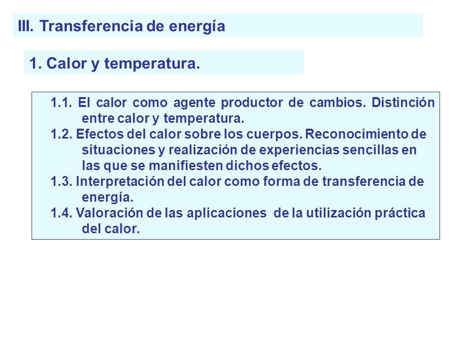 III. Transferencia de energía
