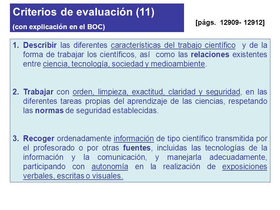 Criterios de evaluación (11)