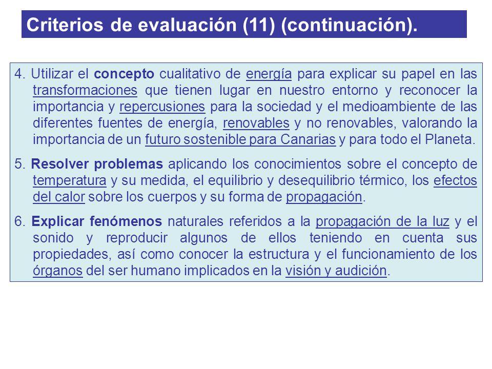 Criterios de evaluación (11) (continuación).