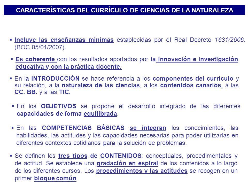 CARACTERÍSTICAS DEL CURRÍCULO DE CIENCIAS DE LA NATURALEZA