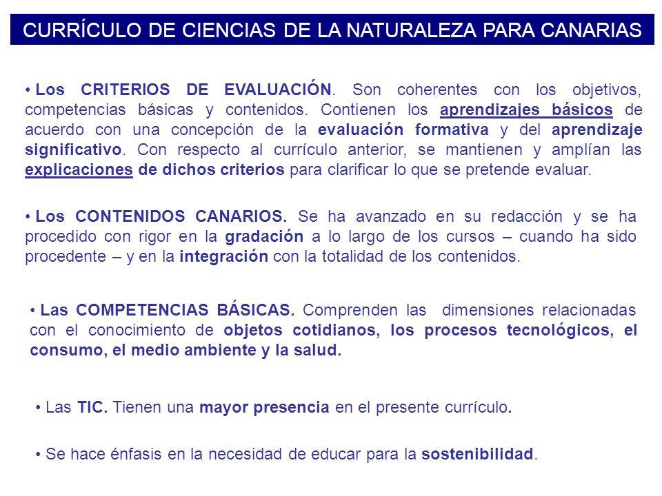 CURRÍCULO DE CIENCIAS DE LA NATURALEZA PARA CANARIAS