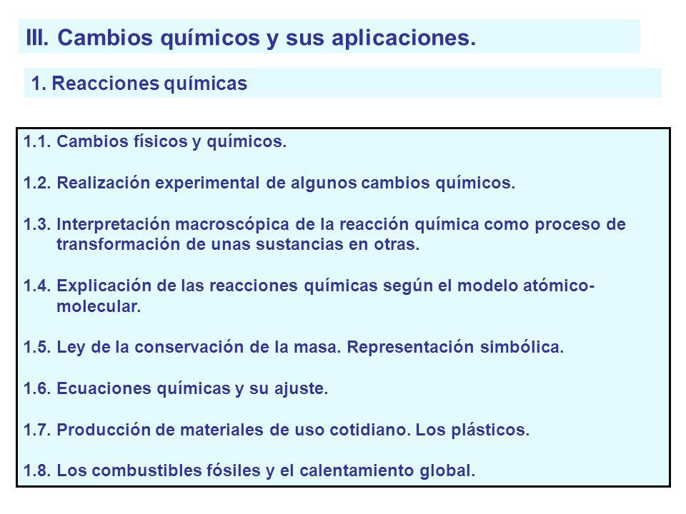 III. Cambios químicos y sus aplicaciones.