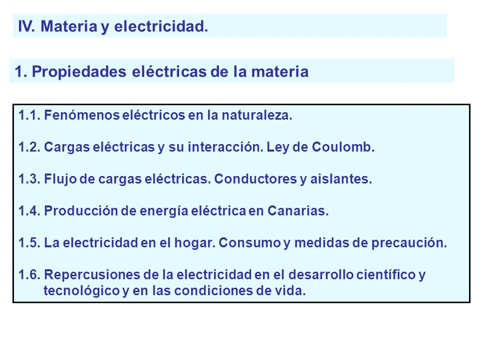 IV. Materia y electricidad.