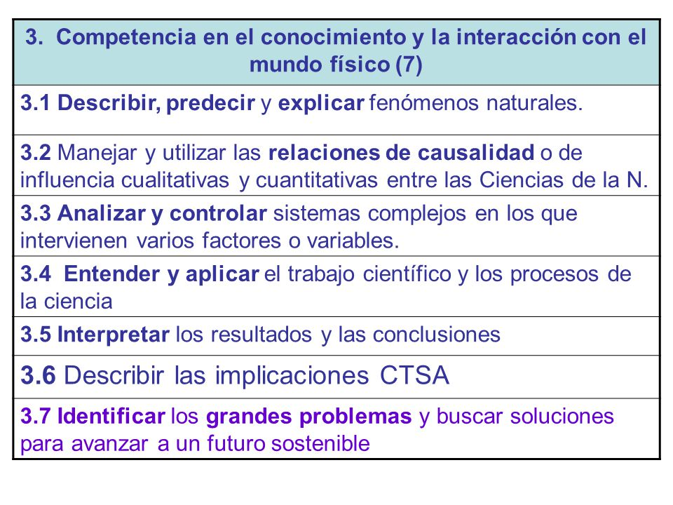 3.6 Describir las implicaciones CTSA