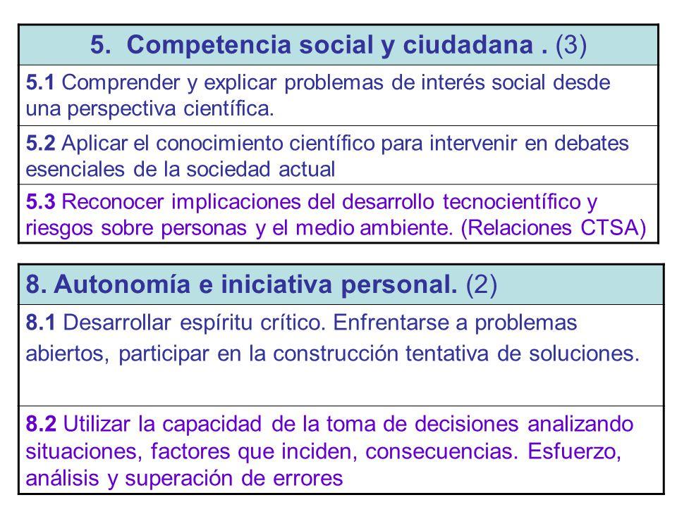 5. Competencia social y ciudadana . (3)