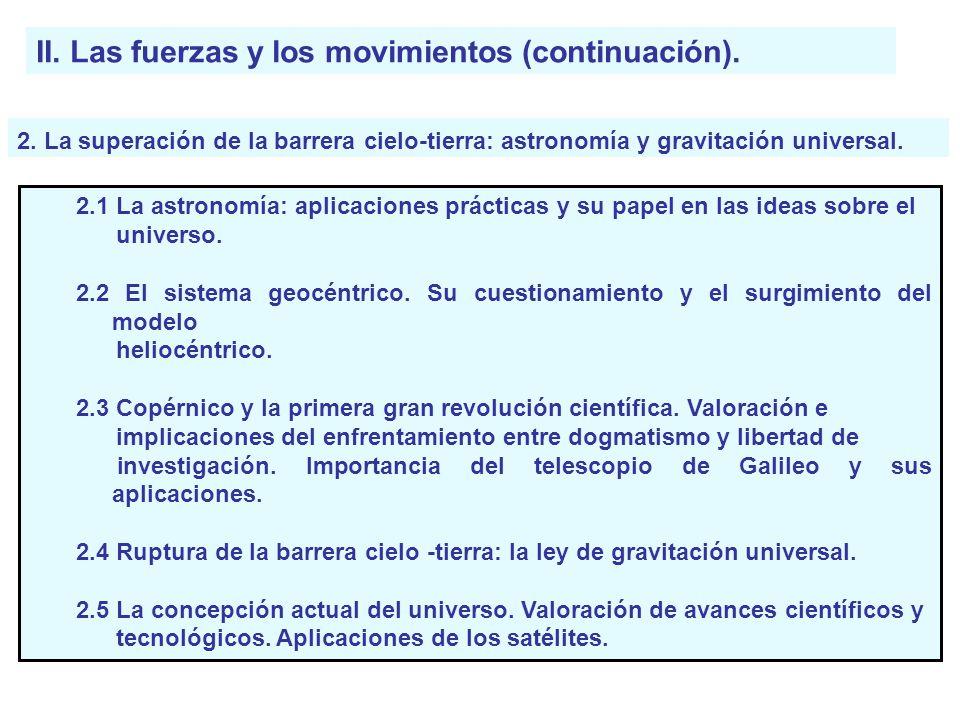II. Las fuerzas y los movimientos (continuación).