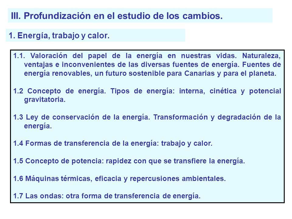 III. Profundización en el estudio de los cambios.